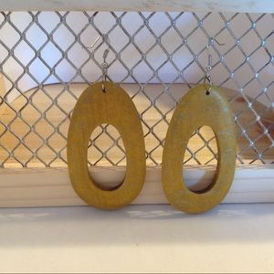 Silver Tone Yellow Gold Wooden Fashion Earrings